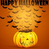Bat flying out from Halloween Pumpkin Royalty Free Stock Photo