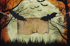 Bat. In front of the moon on a bright Halloween Royalty Free Stock Photo