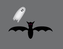 Bat and ghost. Stock Photos