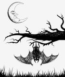 Bat is hanging on a branch. Vector illustration Royalty Free Stock Photo