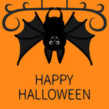 Bat hanging. Happy Halloween. Cute cartoon character with big wing, ears and legs. Black silhouette. Forest animal. Flat design. O Royalty Free Stock Photo