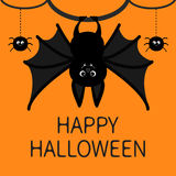 Bat hanging. Spider dash line web. Happy Halloween card. Cute cartoon character with big wing, ears and legs. Black Stock Images