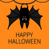 Bat hanging on the tree ring. Happy Halloween card. Cute cartoon character with big wing, ears and legs. Black silhouette. Forest Stock Photos