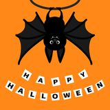 Bat hanging on the tree ring. Happy Halloween paper card. Cute cartoon character with big wing, ears and legs. Black silhouette. F Stock Photos
