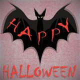 Bat. Happy Halloween card. Vector illustration Royalty Free Stock Images