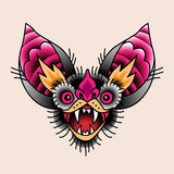 Bat. The head of a bat with open mouth. Traditional tattoo symbol for your design stock illustration