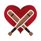 Bat heart baseball sport design Royalty Free Stock Photography