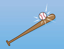 Bat Hitting Baseball Stock Images