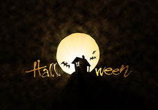 Bat hut and moon Halloween theme Stock Image