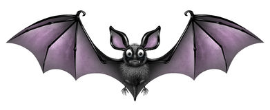Bat Isolated. On a white background as a creepy and cute flying webbed winged smiling mammal as a spooky vampire horror symbol or halloween celebration icon Royalty Free Stock Photo