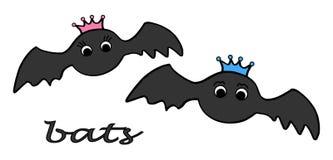 Bat king and bat queen. Hand drawn cute illustration vector. stock photo