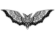 Bat line art design for tattoo, t shirt design, coloring book, and so on Royalty Free Stock Photography