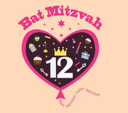 Bat mitzvah. Abstract heart balloon with objects of holiday,greeting birthday card religious majority for girl Stock Photo