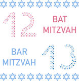 Bat mitzvah and bar mitzvah. 12 and 13 years old. Vector illustration stock illustration
