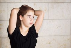 Bat Mitzvah girl in black dress Stock Photography