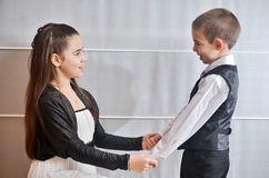 Bat Mitzvah girl with her brother Royalty Free Stock Photo