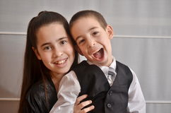 Bat Mitzvah girl with her brother Royalty Free Stock Photos
