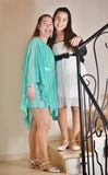 Bat Mitzvah girl with her older sister Stock Image