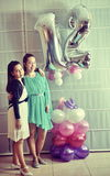 Bat Mitzvah girl with her older sister (Vintage Processed) Stock Photography