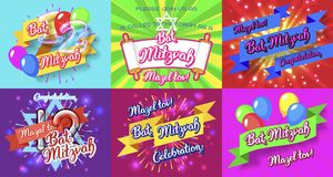 Bat Mitzvah invitation cards bundle. Bat Mitzvah party invitation template big bundle, congratulation cards. Holiday of coming of age Jewish rituals Royalty Free Stock Image