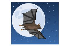 Bat on Moon Stock Photos
