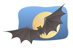 Bat and moon. Bat on a background the moon and the night sky Royalty Free Stock Photo