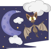 Bat and the moon cartoon Stock Image