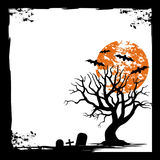 Bat, moon, and Dead trees. Spooky Halloween card. background Flat design Royalty Free Stock Images