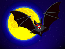 Bat and Moon. Bat on the Full Moon and starry sky background Royalty Free Stock Images