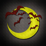 Bat and moon in Halloween day watercolor Royalty Free Stock Photography