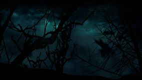 Bat Moon Trees Storm 4K Loop. Features the silhouette of dead tree branches and spider webs in the foreground with storm clouds and lightning in the back in a stock video