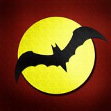 Bat and moon watercolor isolated on paper Stock Image