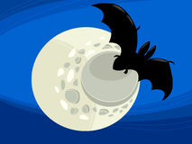 Bat at night cartoon illustration Stock Image