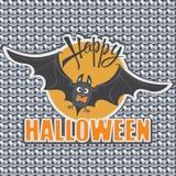 Bat. Orange sun. Happy Halloween. Stock Image