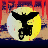 Bat Out Of Halloween. Background illustration of a bat riding a motorcycle for Halloween Stock Image