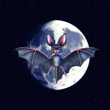 Bat over moon Royalty Free Stock Image
