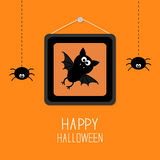 Bat in picture frame on nail. Hanging spiders. Happy Halloween card. Orange background Flat design Royalty Free Stock Photos