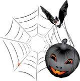 Bat with pumpkin. Halloween Stock Photos