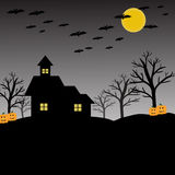 Bat, pumpkin, house, moon and tree for halloween concept Royalty Free Stock Photos
