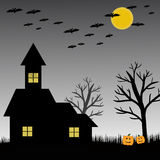 Bat, pumpkin, house, moon and tree for halloween concept Stock Image