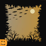 Bat, pumpkin, moon and tree for halloween concept Royalty Free Stock Photos