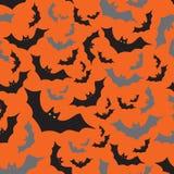 Bat seamless dark and orange autumn halloween pattern Stock Photography