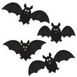 Bat set. A set of four flying cartoon bats Stock Images
