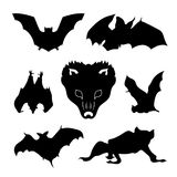 Bat set vector. Bat set of silhouettes vector vector illustration
