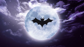 Bat shadow at white moon Royalty Free Stock Image
