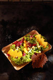 Bat Shaped Garnishes in Halloween Salad Royalty Free Stock Images
