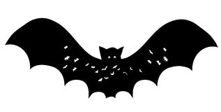 Bat silhouette. Isolated contour coloring page Royalty Free Stock Images