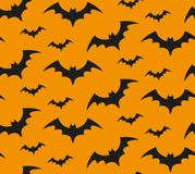Bat silhouette seamless pattern. Halloween repeating texture. Scary endless background with flittermouse. Vector Royalty Free Stock Photography