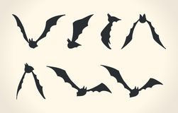 Bat silhouettes in a different poses, Halloween vector illustrat Royalty Free Stock Photography