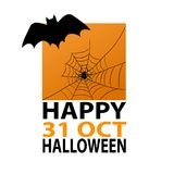 Bat and spider on web on halloween orange background for your de. Sign, stock vector illustration, eps 10 Stock Image